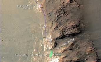 Opportunity's traverse in 2015 as it approached the Marathon Valley, and the traveled distance of a traditional marathon (about 42 kilometres (26 mi))