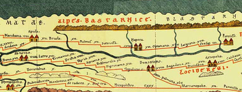 Napoca on the Roman Dacia fragment of the 1st–4th century AD Tabula Peutingeriana (upper center)[31]