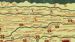 An extract from the Peutinger table showing Camaraco (Cambrai) northeast of Sammarobriva (present-day Amiens)