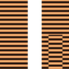 Left: the real part of a plane wave moving from top to bottom. Right: the same wave after a central section underwent a phase shift, for example, by passing through a glass of different thickness than the other parts.