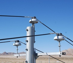 Medium-voltage power lines with ceramic insulators in California