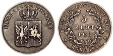 5 złotych from the November Uprising of 1830-1831