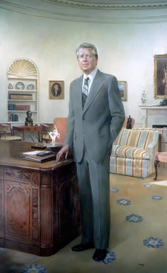 Robert Templeton's portrait of President Carter, displayed in the National Portrait Gallery, Washington DC