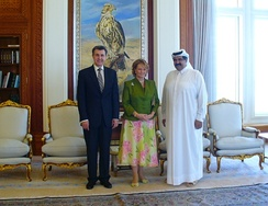 Sheikh Hamad bin Khalifa with Crown Princess Margareta of Romania and her husband Prince Radu.
