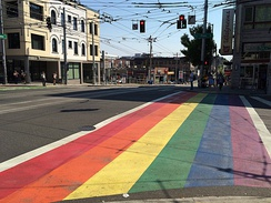 One of Capitol Hill's eleven rainbow crosswalks, pictured at Broadway and Pine Street