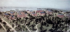 Hamilton College as painted from a hot-air balloon by watercolor artist Richard Rummell in the early 1900s.[6]
