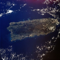 An enlargeable satellite image of Puerto Rico