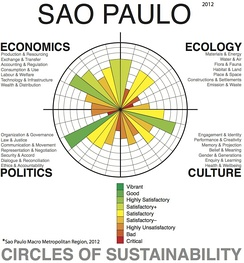 Urban sustainability analysis of the greater urban area of the city of São Paulo using the 'Circles of Sustainability' method of the UN and Metropolis Association.[41]