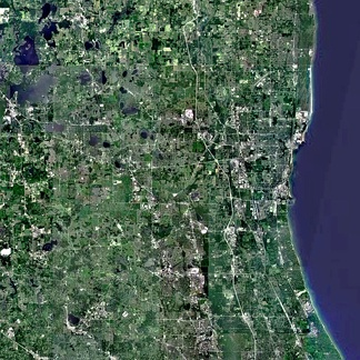 A satellite view of the Lake County district