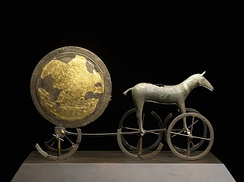 The gilded side of the Trundholm sun chariot dating from the Nordic Bronze Age