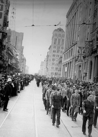 Royal Australian Air Force recruits marching along Queen Street, August 1940