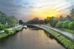 Sunset over the river Leie in Ghent