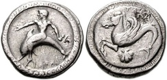 Silver coin with Tarus riding a dolphin