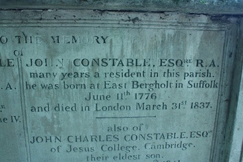 The inscription on Constable's tomb