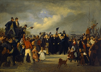 Contemporary painting by Fritz Westphal of Thorvaldsen's reception as a national hero on his return to Denmark in 1838.