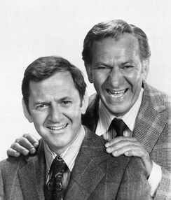 Randall with Jack Klugman in a publicity photo of The Odd Couple, 1972