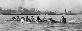 The University of Toronto Rowing Club trains in Toronto Harbour for the 1924 Summer Olympics. The team won silver for Canada.