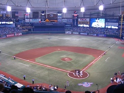 Tropicana Field shown from the upper deck during the first game of the 2010 Tampa Bay Rays season