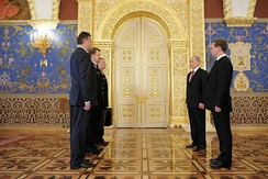 The ceremony of passing the Cheget (i.e. the nuclear briefcase) from Dmitry Medvedev's military aide to Vladimir Putin's military aide during the 2012 presidential inauguration.[39]