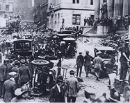 The 1920 Wall Street bombing, with the sub-treasury building in the background at right