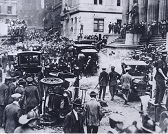 Wall Street bombing, 1920. Federal Hall is at the right.