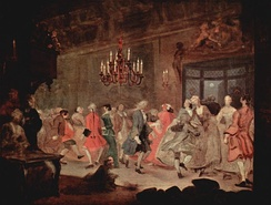 William Hogarth's The Country Dance (circa 1745) illustrates the type of interior scene that Kubrick sought to emulate with Barry Lyndon.