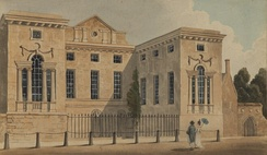 Worcester College in the early 19th century. The projecting wings are the Hall (left) and the Chapel (right)