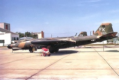 13th Bombardment Squadron Martin B-57B-MA 53-865 1974. Photo taken at Forbes AFB, Kansas shortly after aircraft was returned to the United States. Photo (and the one above) show aircraft after being assigned to the 190th Bombardment Group, Kansas Air National Guard. Both had been converted to the B-57G night intruder version where they served until 1974, when they were consigned to storage at Davis Monthan AFB.