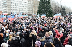 Pro-Russian supporters in Donetsk, 20 December 2014