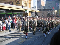 Members of the Army Reserve 5th/6th Battalion, Royal Victoria Regiment marching through Melbourne on Anzac day 2006