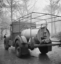 The British stockpiled chemical weapons to use in case of a German invasion. Pictured is a chemical warfare bulk decontamination vehicle.