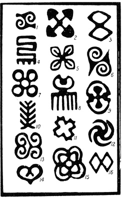 Adinkra symbols recorded by Robert Sutherland Rattray, 1927