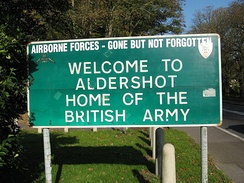 Sign for Aldershot Military Town