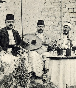 Syrian musicians in Aleppo with an oud, circa 1915.