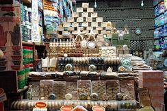 A shop in al-Madina Souq displaying Aleppo soap products, 2004