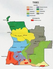 A map of Angola showing majority ethnic groups (Bakongo area is north, dark green).