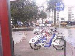 Bici Q station in northern Quito. Bici Q is the Bicycle sharing system started by the municipal government of the city