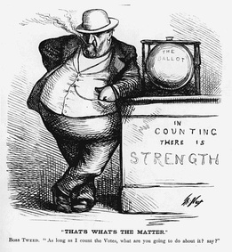 "Nast shows Tweed's source of power: control of the ballot box. ""As long as I count the Votes, what are you going to do about it?"""
