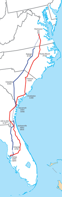 The main lines of the ACL and SAL, which became CSX's A and S lines