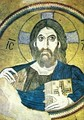 11th-century Christ Pantocrator with the halo in a cross form, used throughout the Middle Ages. Characteristically, he is portrayed as similar in features and skin tone to the culture of the artist.