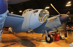 American F-8 Mosquito nose; USAAF markings, PRU Blue finish at the National Museum of the United States Air Force.