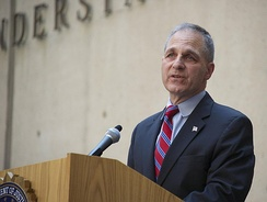 Freeh speaks at the farewell ceremony of outgoing Director Robert Mueller in 2013