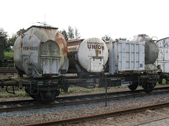 Freight car in railway museum Bochum-Dahlhausen, showing four different UIC-590 pa-containers
