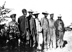 Herero chained by German captors during the 1904 rebellion in South-west Africa