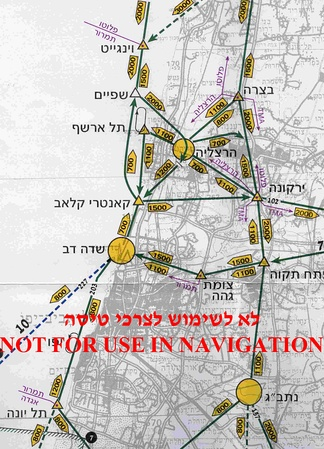 Section of CVFR flight routes map of Tel Aviv (Israel) area. Flight altitude in each direction is notated in yellow arrow-box. Compulsory reporting points are marked with triangles and airports are marked by yellow circles.