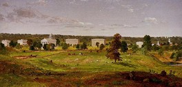 Painting of a rolling green landscape with trees with a row of white buildings in the background