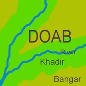 In any doab, khadir land (green) lies next to a river, while bangar land (olive) has greater elevation and lies further from the river