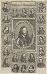 An engraving depicting Charles I and his adherents.