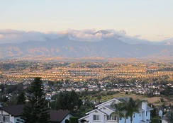 Evening view over Niguel Summit, with the San Joaquin Hills neighborhood in the distance