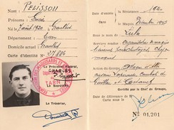 Identity document of French Resistance fighter Lucien Pélissou
